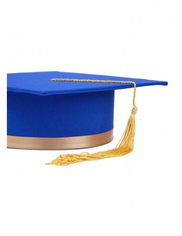 Toca absolvire albastru auriu