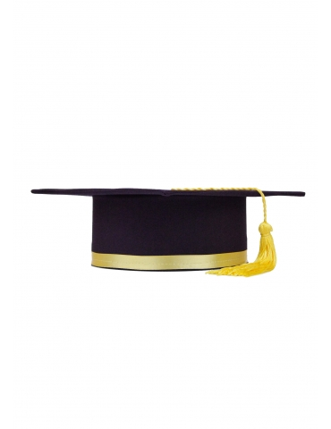 Yellow purple graduation cap