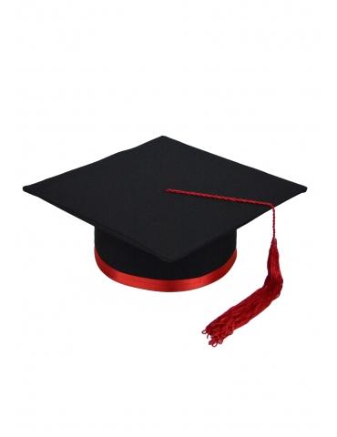 Red black graduation cap